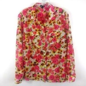 Ann Taylor Women's Silk Cotton Blouse Pink Floral